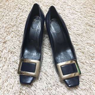 Authentic ROGER VIVIER Midnight Blue Block Pumps