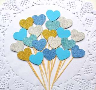10 pc Glitter Hearts Blue Cupcake Topper Happy Birthday Cake Bunting Party Decoration Decor Toppers