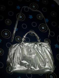 Miumiu Metalise Silver Leather Two Way Bag Authentic