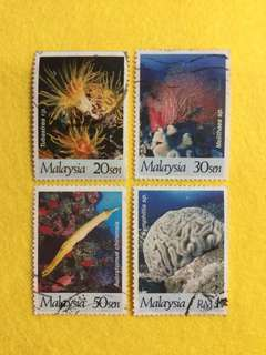 1997 International Year of The Reef 4 Values Used Set