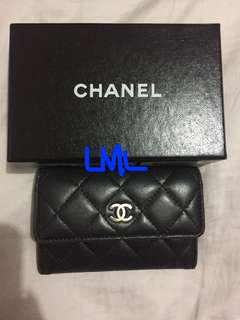 Authentic CHANEL Quilted Lambskin card/coin holder