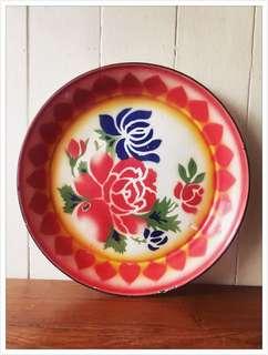 Vintage Enamel Floral Tray