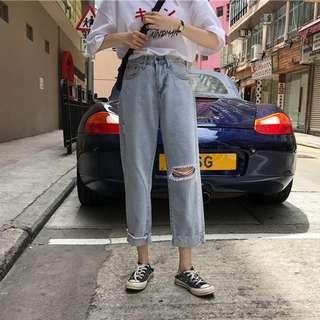 韓版做舊磨白復古破洞寬鬆顯瘦百搭捲邊高腰牛仔褲女學生九分褲夏