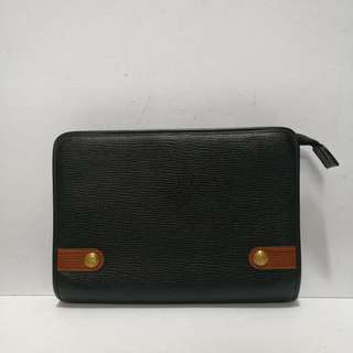 Philippe Charriol Black Leather Clutch Bag