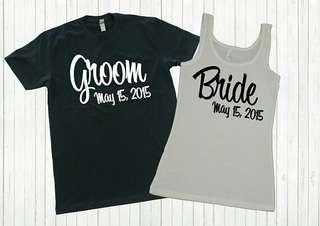 Groom Bride Date Singlet Unisex Design Tee T-Shirt Shirt