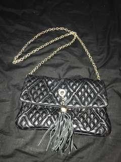Black lambskin leather handbag