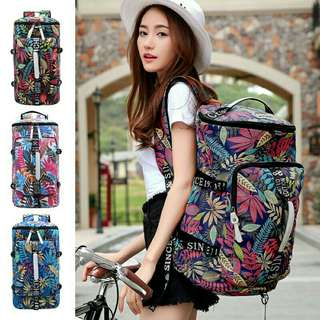 Unisex Floral Colourful Duffel Barrel Backpack 《READY STOCK》