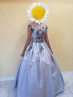 gray ball gown