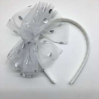 Blessing: White Hairband - Silver Polka Dots Bow