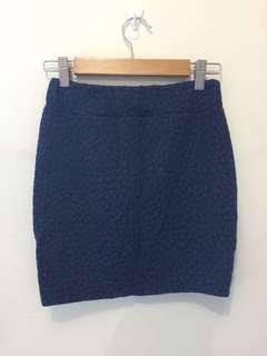 Blue textured bandage skirt