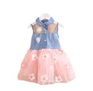 SB 045 Girl Lace Denim Floral Dress