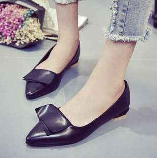 Korean Bow Pointed Flat Low-heeled Shoe