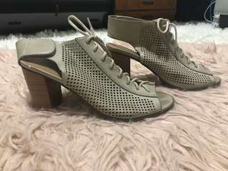 Lace Up Perforated Booties