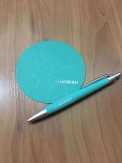 Le Meridien Luxury Hotel Pen and Coaster Green Collector