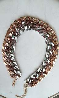 Silver gold wrap necklace