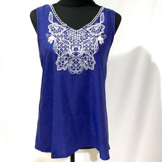 Blue & White Embroidered Bangkok Top