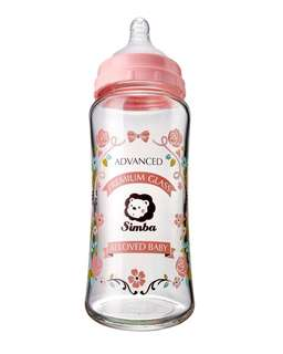 CRYSTAL ROMANCE WIDE NECK GLASS FEEDING BOTTLE 270ML