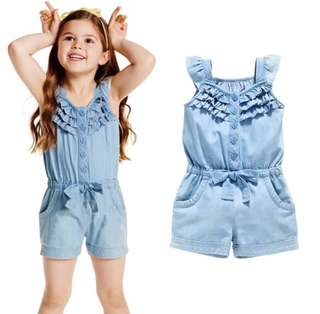 SB 046 Baby Girl Denim Jeans Jumpsuit