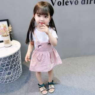 SB 049 Baby Girl Cute Fake 2PCS Dress