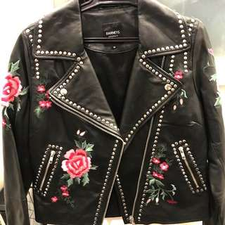 Genuine leather stud and embroidered jacket