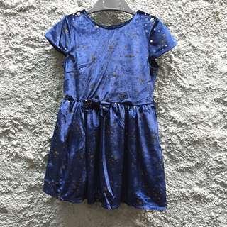 New! Dress anak velvet navy size 2-3 & 3-4 years