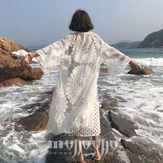 韓版 超百搭好看仙女 空調外套 空調衫 海邊出國出遊必備 七分袖蕾絲鉤花罩衫外套 薄開衫 薄外套 薄罩衫