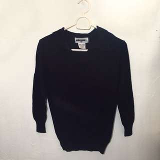 Navy Blue Knitted Longsleeved with Collar