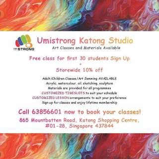 Customized art classes / lessons for all ages - kids and adults / Art jamming / Art supplies and studio in Katong Shopping Centre