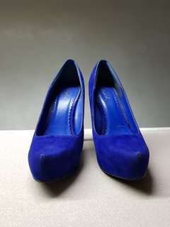 Qupid Blue Suede High Heels
