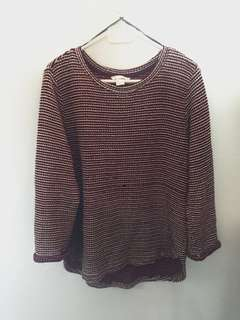 H&M Maroon Knitted Long Sleeved Top