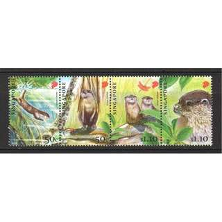 SINGAPORE 2011 ENDANGERED ANIMALS - ORIENTAL SMALL CLAWED OTTER SE-TENANT SET OF 4 STAMPS IN MINT MNH UNUSED CONDITION