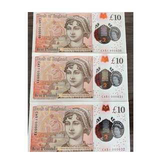 10£ low running number 000030-000032 same Prefix CA51 UNC