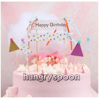5pc Happy Birthday Party Hat Cake Topper Bunting Decoration Decor Cupcake Toppers