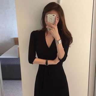 DVF同款黑色裹身長裙 斯文大方百搭款 返工💼/出街/度假⛱️ DVF Style Sophisticated Black Maxi Wrap Dress - For Work💼/ Going Out/ Night Out🍷/ Vacation⛱
