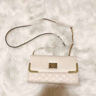 Off-White Quilted Crossbody Clutch Bag