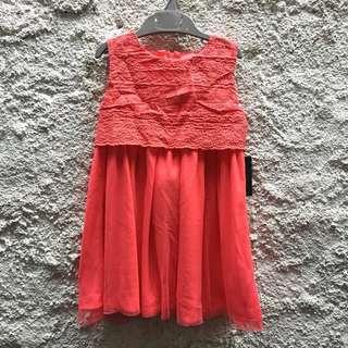 New! Red dress tile/tutu bordir size 2 years
