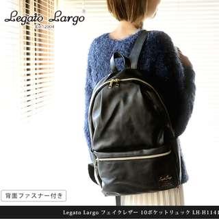 日本 Legato Largo 全黑色 PU皮革 背囊