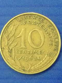 France 10 centimes Y1963