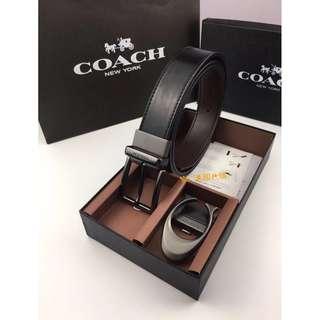 特價【父親節禮物】COACH 64095新款光面紋皮紋 兩面用可旋轉 皮質柔軟