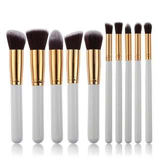 White/Gold 10 pcs brush set