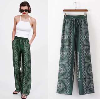 2018 European Station Printed Wide Trousers Women's Green Print Pants