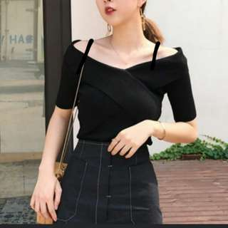 Korean Style Off Shoulder Black Classy Top