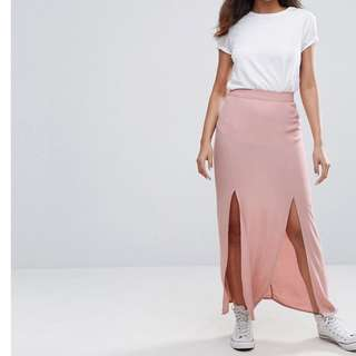 NEW LOOK PINK DOUBLE SLIT FRONT MAXI SKIRT