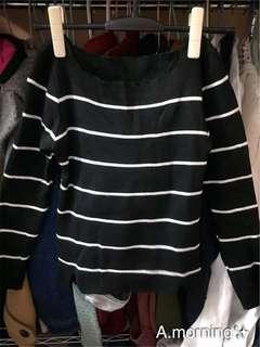 🚚 *有實穿照*針織條紋黑色上衣
