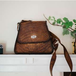 Vintage Bohemian Leather Tan Bag with Tooled Details