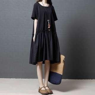 🚚 (M - XXL) Korean loose women's art splicing fold long dress