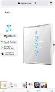Wifi Smart Light Switch, In-wall Tempered Glass Touch-Screen WLAN Light Switch,Works With Amazon Alexa And Google Home,Control Your Fixtures From Anywhere,Timing Function,Overload Protection,No Hub Required (Switch-3 Gang)