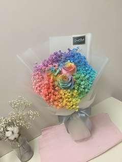 Rainbow rose bouquet