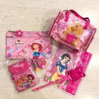 Disney Princess, Barbie and Strawberry shortcake bag and stationary (7 items)
