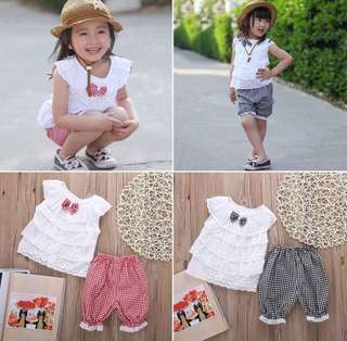 SB 054 Girl Cute Checkered Lace Set Wear